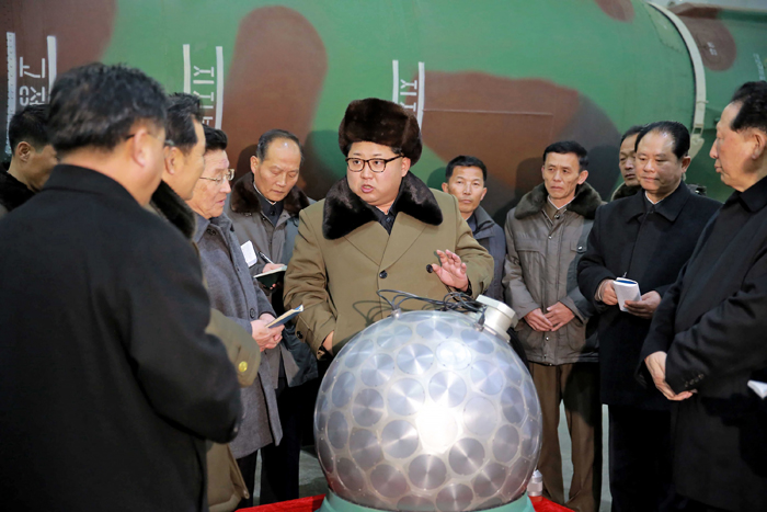 epa05531125 (FILE) An undated picture provided by the official Korean Central News Agency (KCNA) on 09 March 2016 shows North Korean leader Kim Jong-un (C), talking with scientists and technicians involved in research of nuclear weapons, at an undisclosed location, North Korea. A magnitude-5.3 earthquake was detected in northeastern North Korea on 09 September, the South Korean military said, raising speculation that the North conducted a nuclear test on the occasion of its founding anniversary.  EPA/KCNA / HANDOUT SOUTH KOREA OUT  EDITORIAL USE ONLY